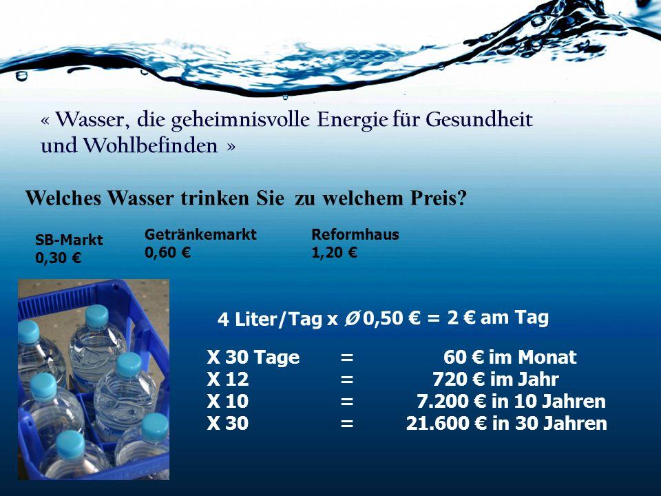 « Wasser, die geheimnisvolle Energie für Gesundheit und Wohlbefinden »