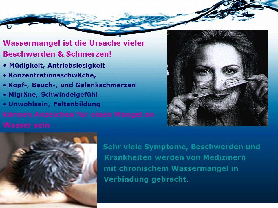 Krankheiten werden von Medizinern mit chronischem Wassermangel in