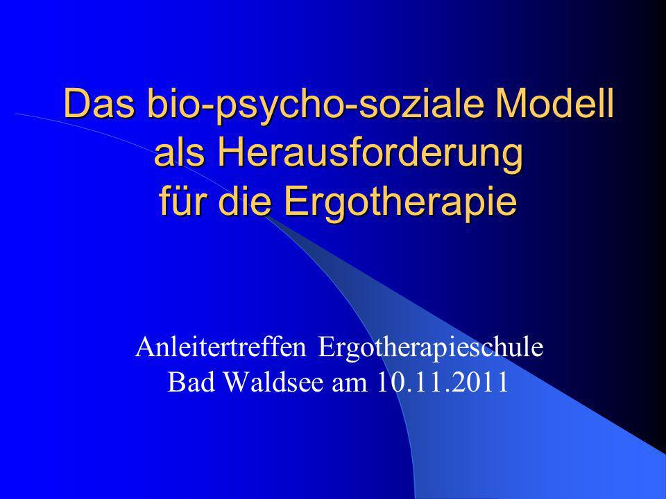 Das bio-psycho-soziale Modell als Herausforderung für die Ergotherapie