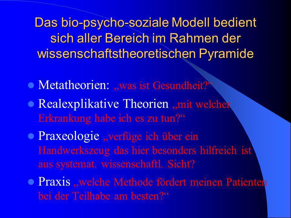 Das bio-psycho-soziale Modell bedient sich aller Bereich im Rahmen der wissenschaftstheoretischen Pyramide