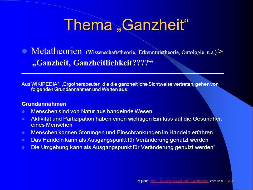 """Thema """"Ganzheit Metatheorien (Wissenschaftstheorie, Erkenntnistheorie, Ontologie u.a.) > """"Ganzheit, Ganzheitlichkeit"""