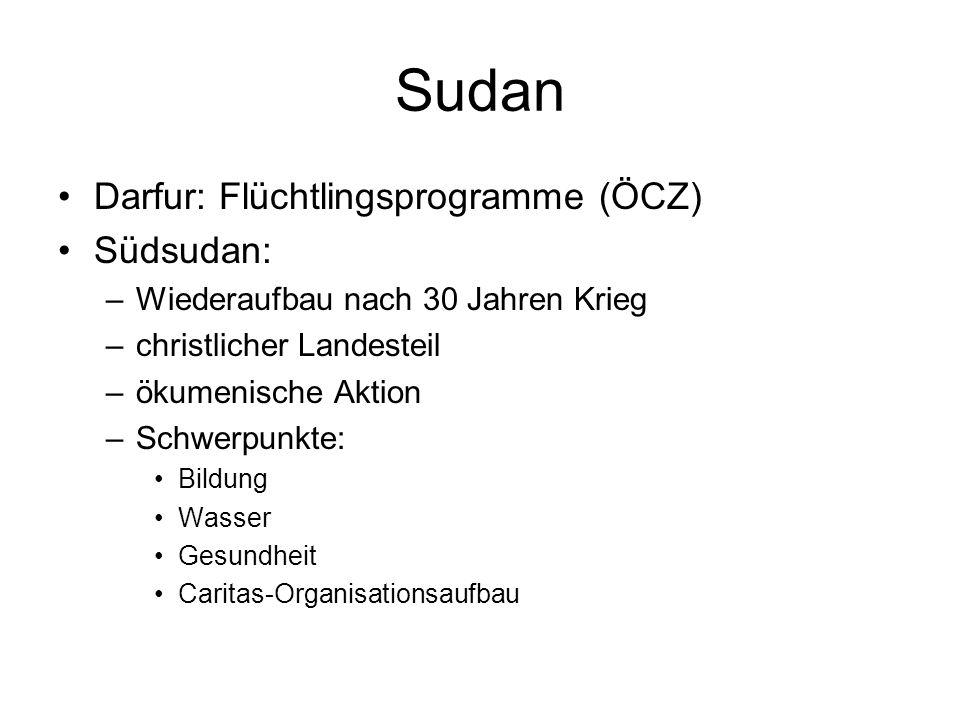 Sudan Darfur: Flüchtlingsprogramme (ÖCZ) Südsudan: