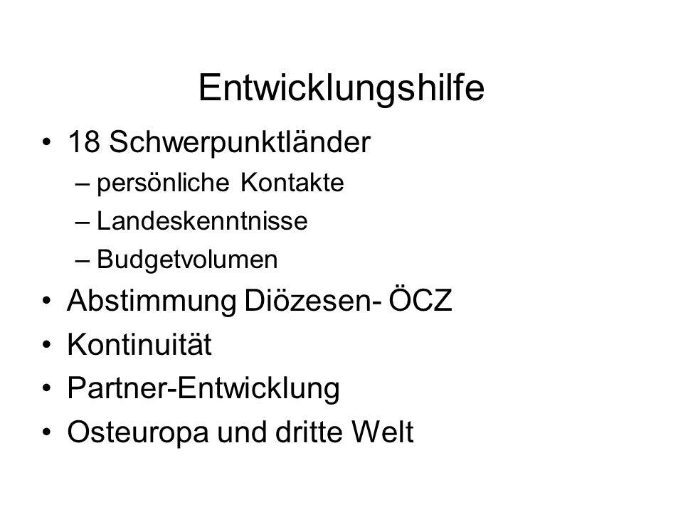 Entwicklungshilfe 18 Schwerpunktländer Abstimmung Diözesen- ÖCZ
