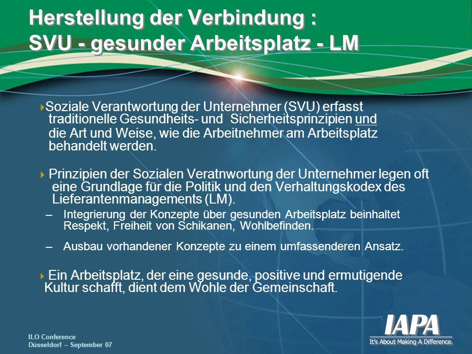 Herstellung der Verbindung : SVU - gesunder Arbeitsplatz - LM