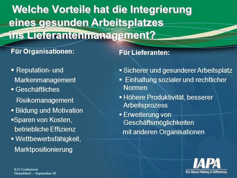 Welche Vorteile hat die Integrierung eines gesunden Arbeitsplatzes ins Lieferantenmanagement