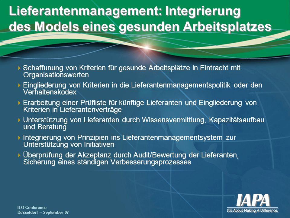 Lieferantenmanagement: Integrierung des Models eines gesunden Arbeitsplatzes