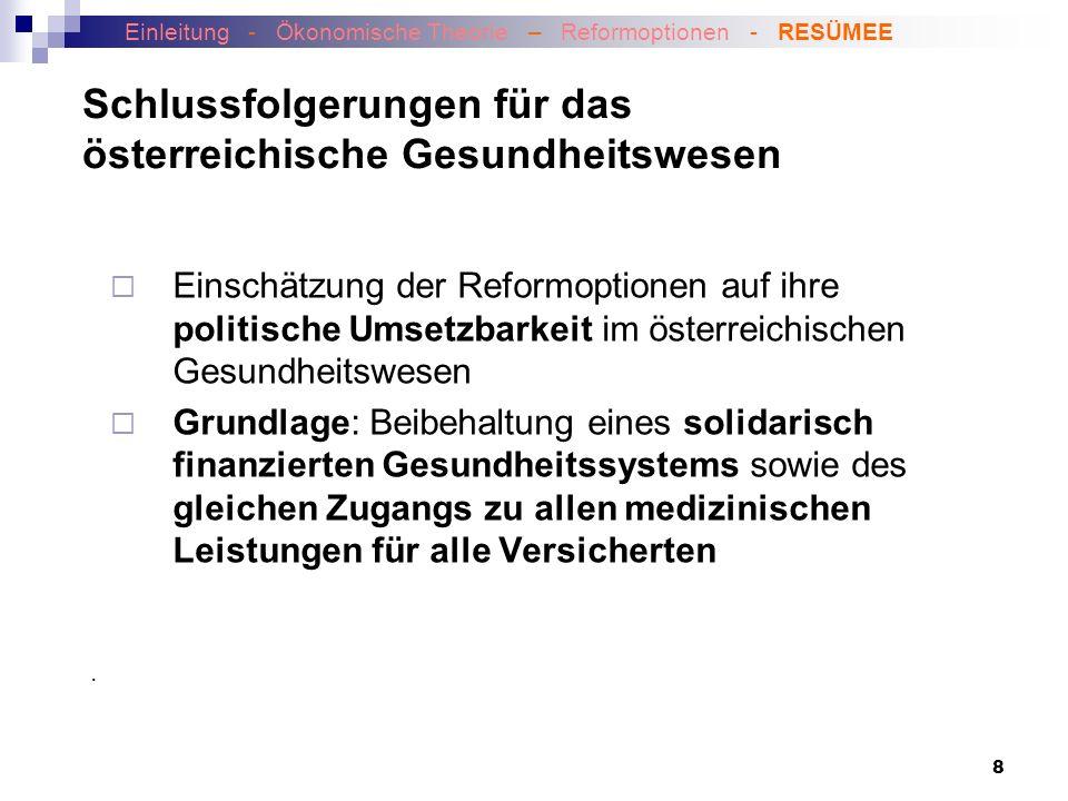 Schlussfolgerungen für das österreichische Gesundheitswesen