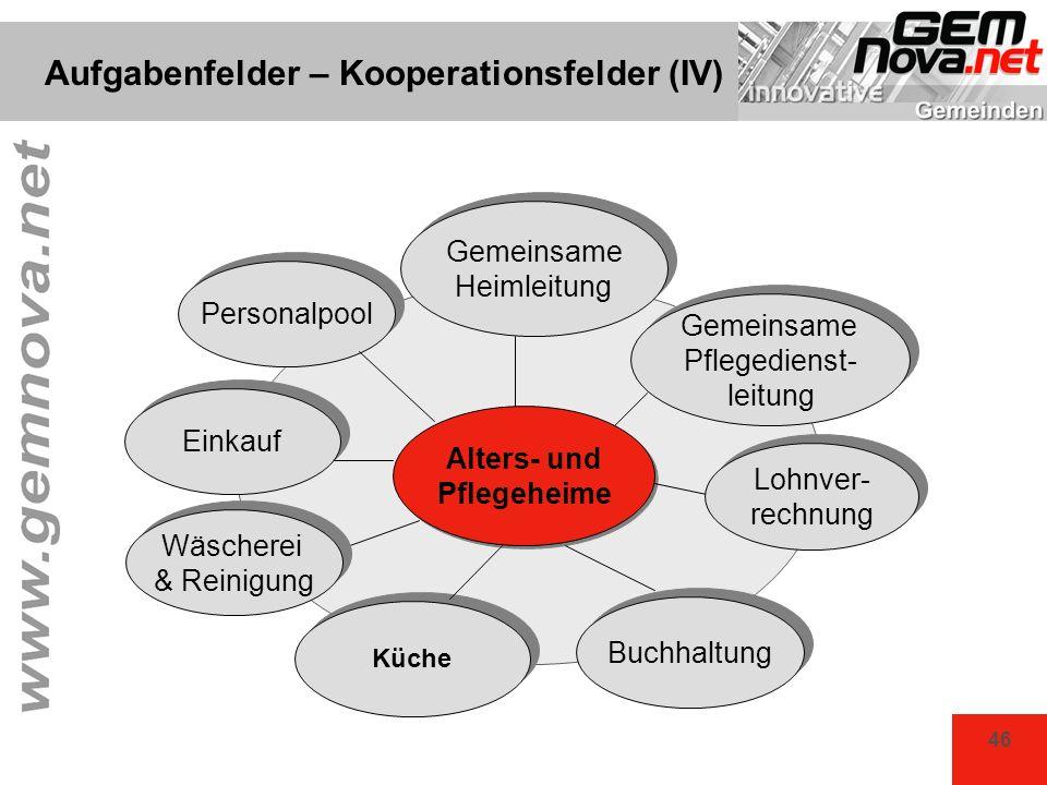 Aufgabenfelder – Kooperationsfelder (IV)