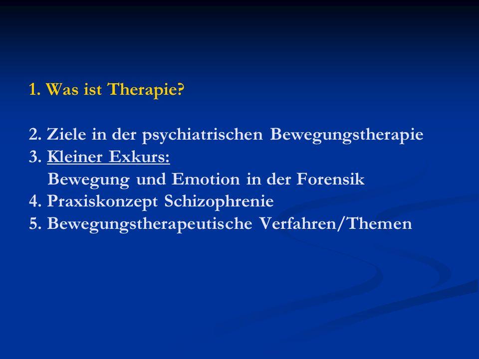 1. Was ist Therapie. 2. Ziele in der psychiatrischen Bewegungstherapie 3.