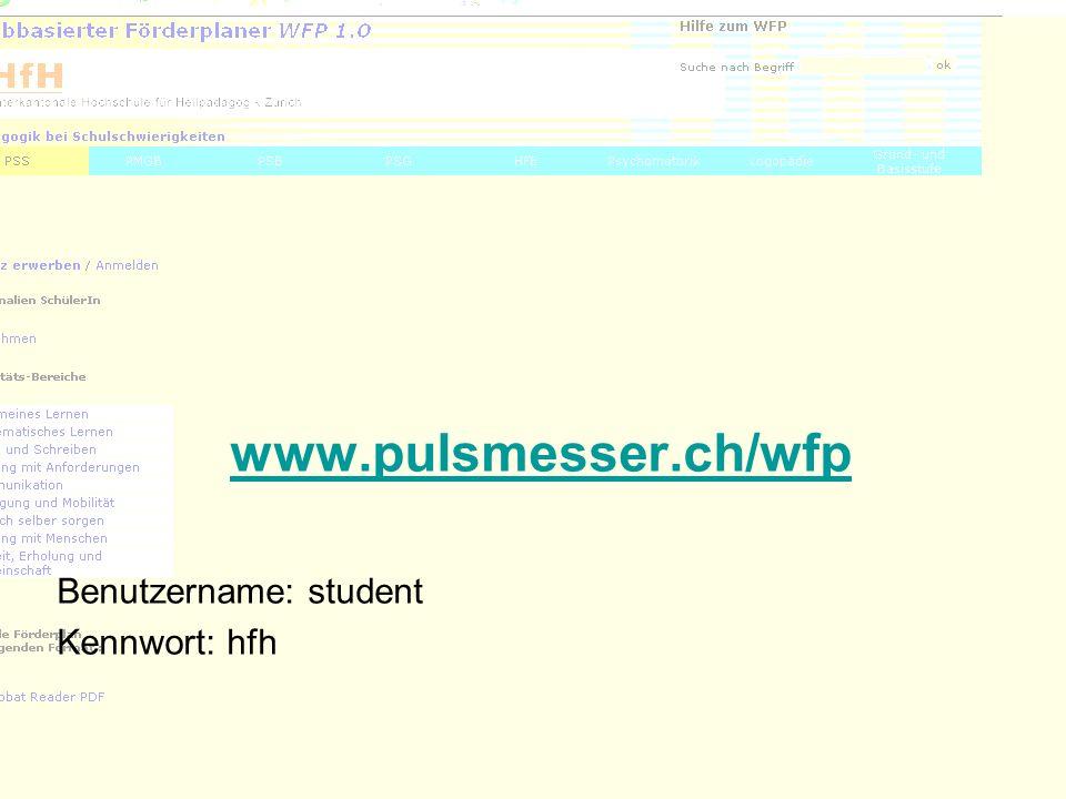 www.pulsmesser.ch/wfp Benutzername: student Kennwort: hfh