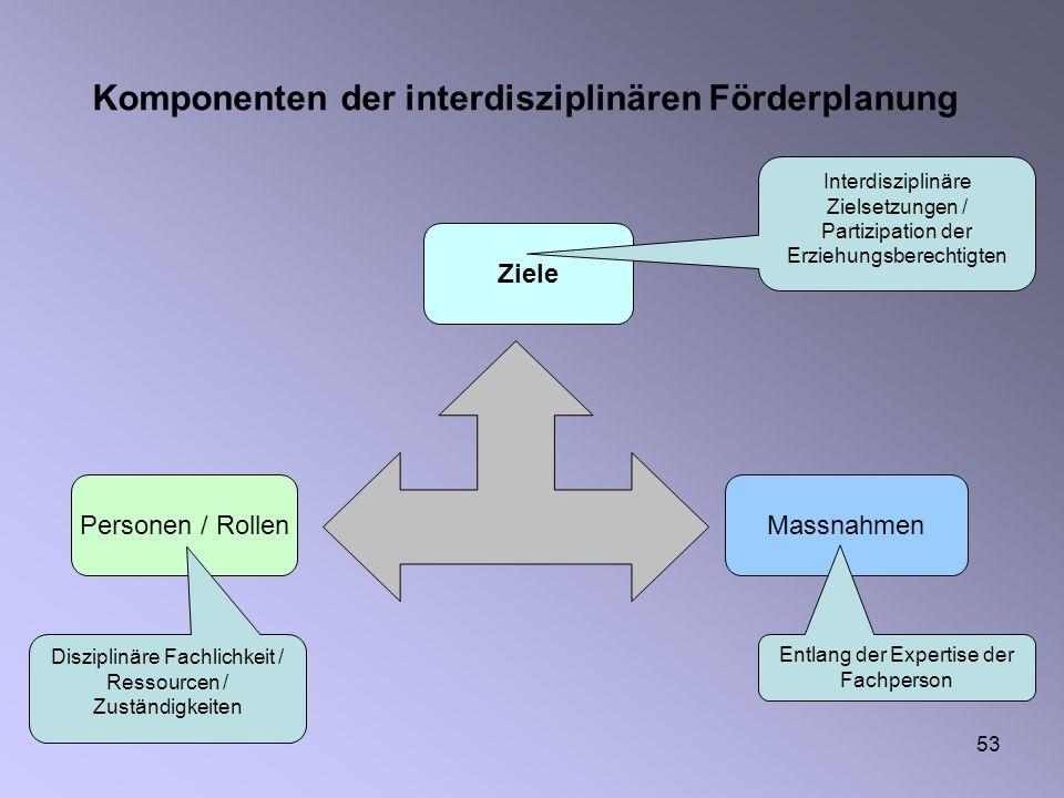 Komponenten der interdisziplinären Förderplanung