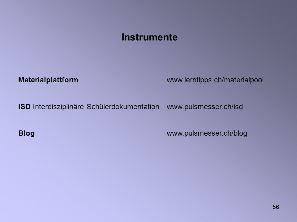 Instrumente Materialplattform www.lerntipps.ch/materialpool