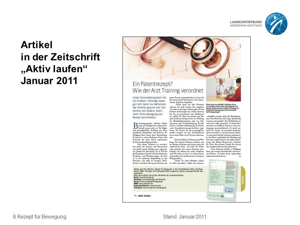 """Artikel in der Zeitschrift """"Aktiv laufen Januar 2011"""