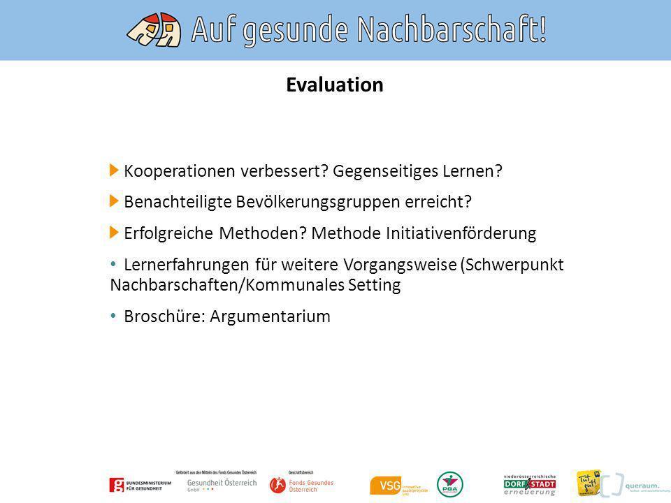 Evaluation Kooperationen verbessert Gegenseitiges Lernen