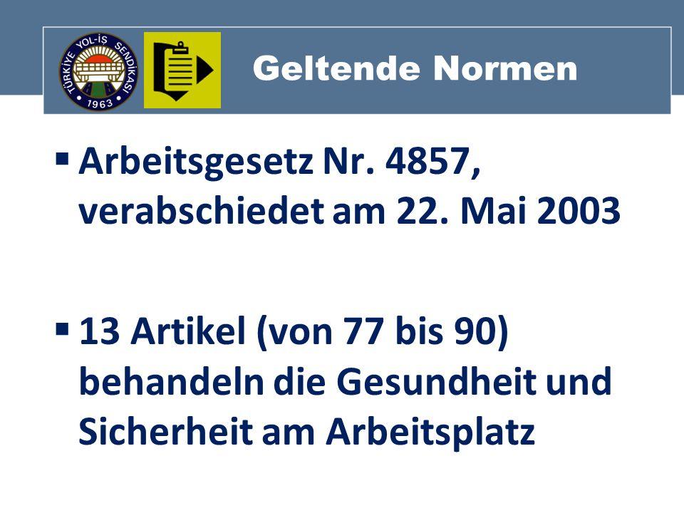 Arbeitsgesetz Nr. 4857, verabschiedet am 22. Mai 2003