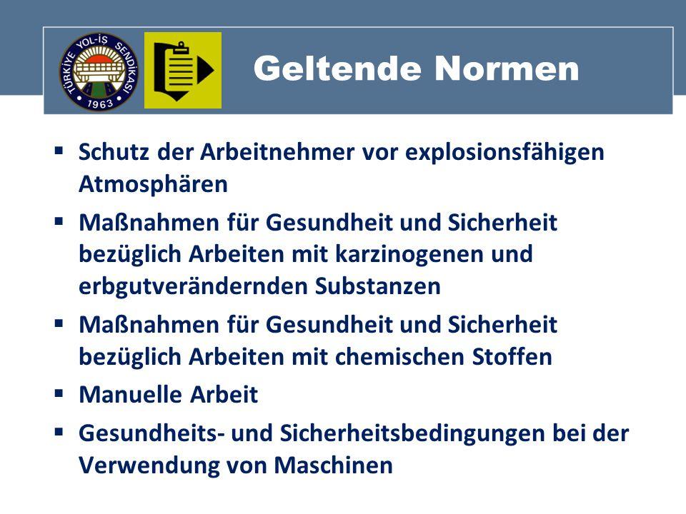 Geltende Normen Schutz der Arbeitnehmer vor explosionsfähigen Atmosphären.