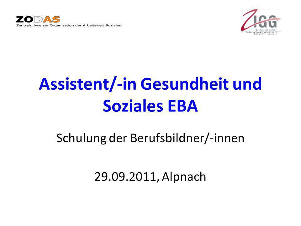 Assistent/-in Gesundheit und Soziales EBA