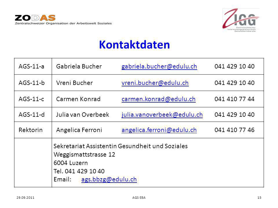 Kontaktdaten AGS-11-a. Gabriela Bucher gabriela.bucher@edulu.ch 041 429 10 40. AGS-11-b.