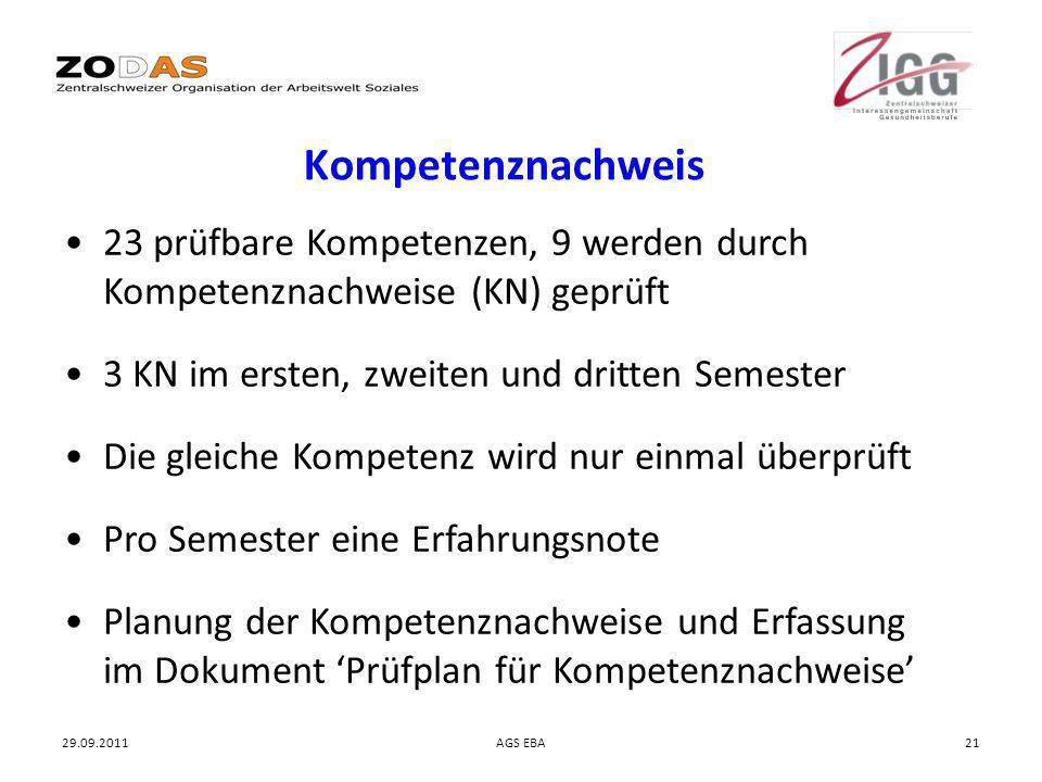 Kompetenznachweis 23 prüfbare Kompetenzen, 9 werden durch Kompetenznachweise (KN) geprüft. 3 KN im ersten, zweiten und dritten Semester.