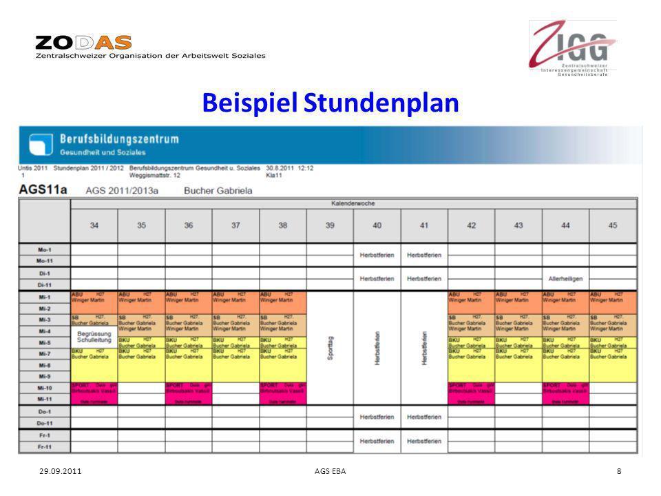 Beispiel Stundenplan 29.09.2011 AGS EBA