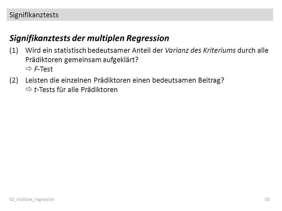 Signifikanztests der multiplen Regression