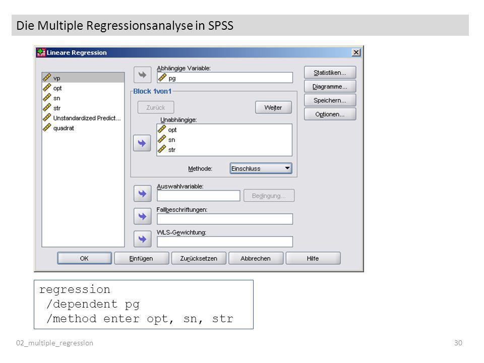 Die Multiple Regressionsanalyse in SPSS
