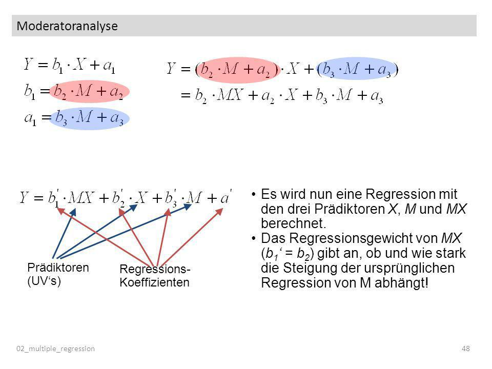 Moderatoranalyse Es wird nun eine Regression mit den drei Prädiktoren X, M und MX berechnet.
