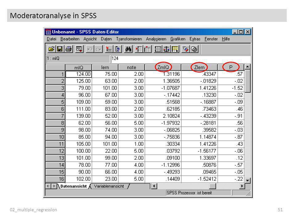 Moderatoranalyse in SPSS