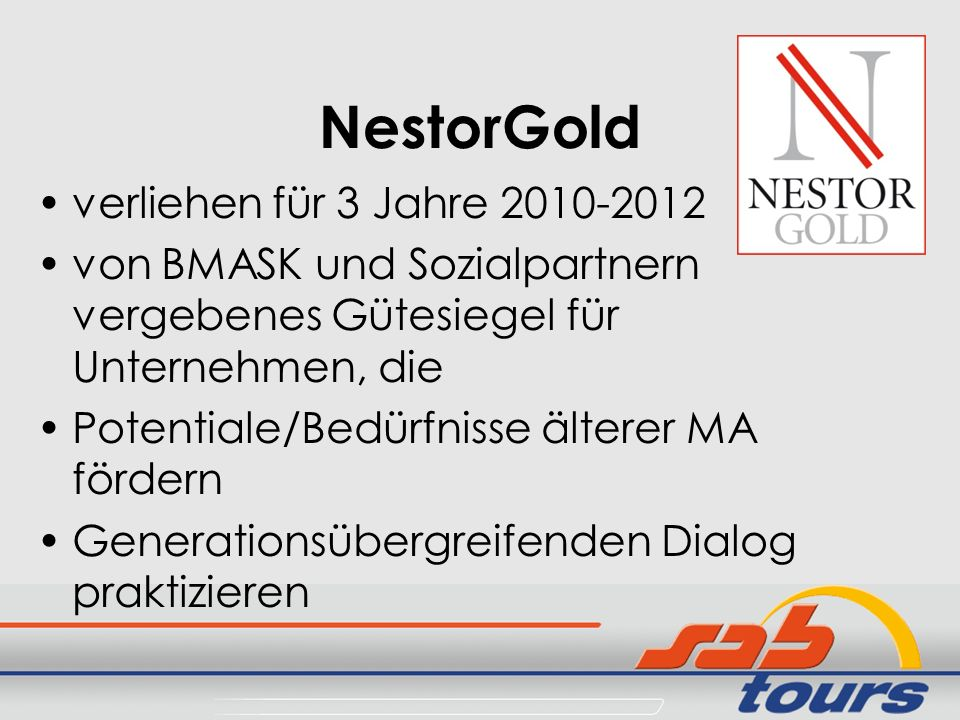 NestorGold verliehen für 3 Jahre 2010-2012