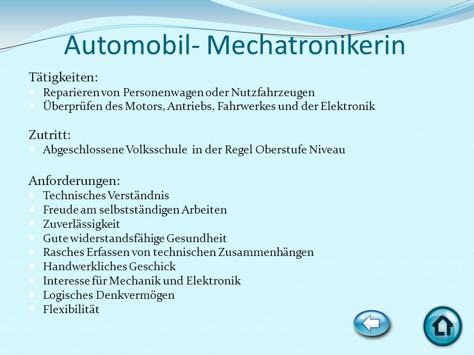 Automobil- Mechatronikerin
