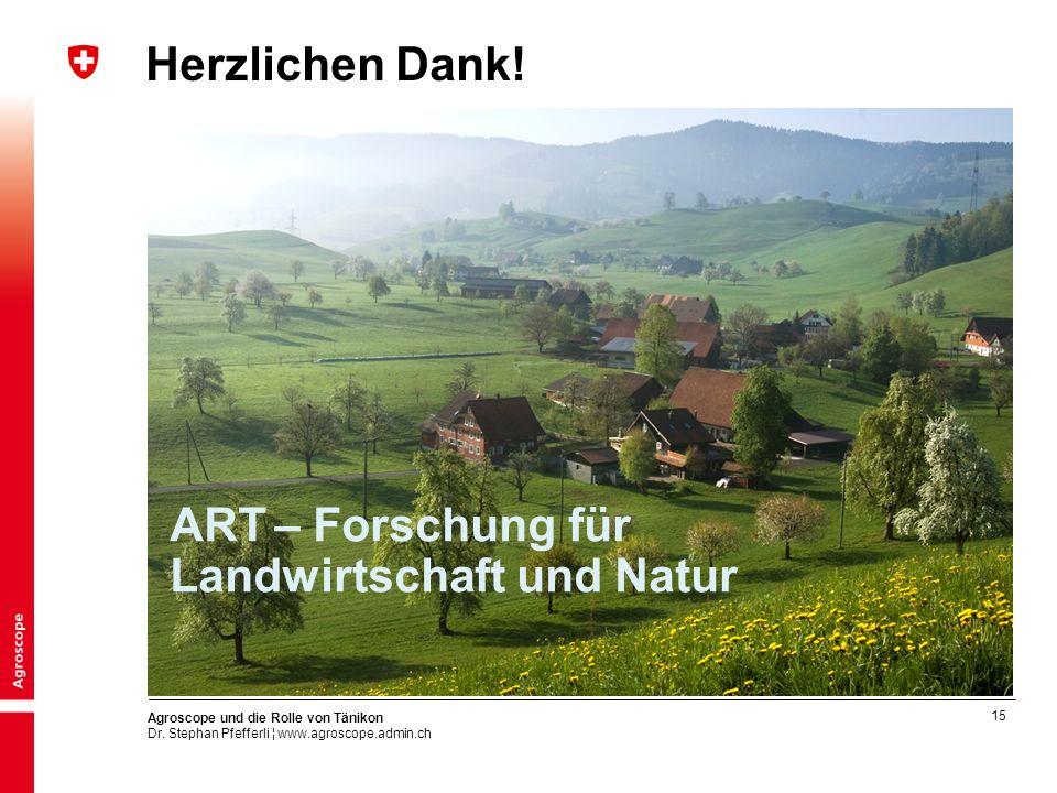 Herzlichen Dank! ART – Forschung für Landwirtschaft und Natur
