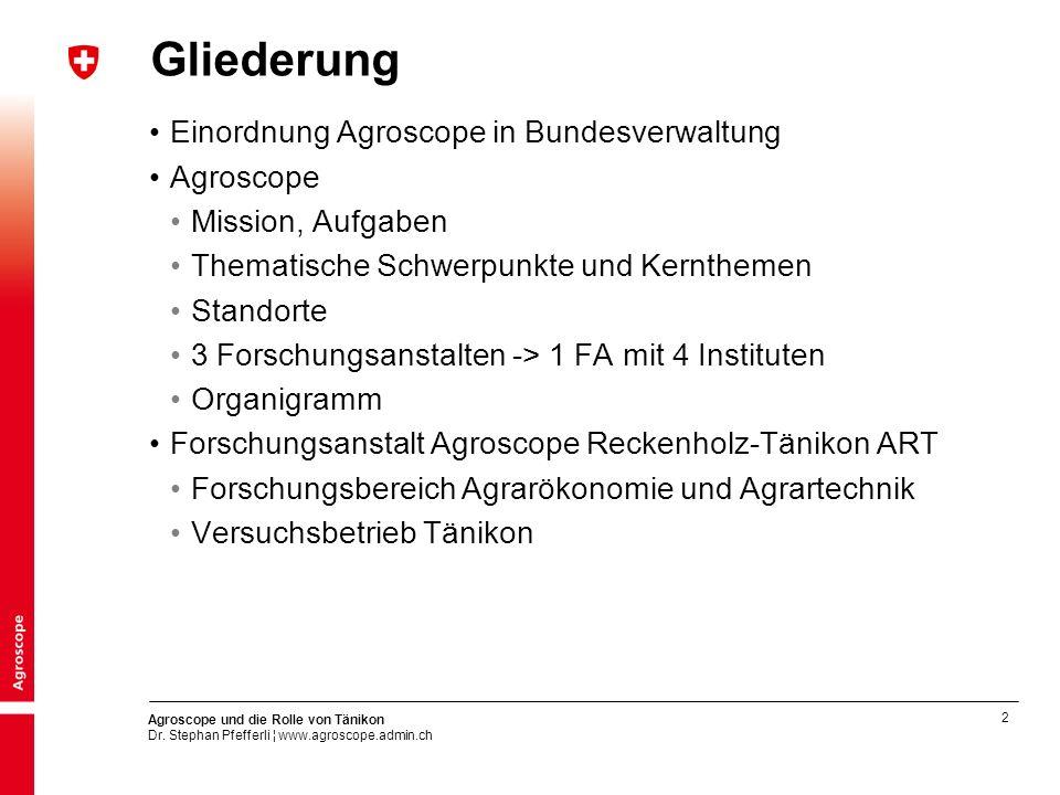 Gliederung Einordnung Agroscope in Bundesverwaltung Agroscope