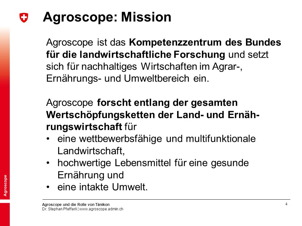 Agroscope: Mission