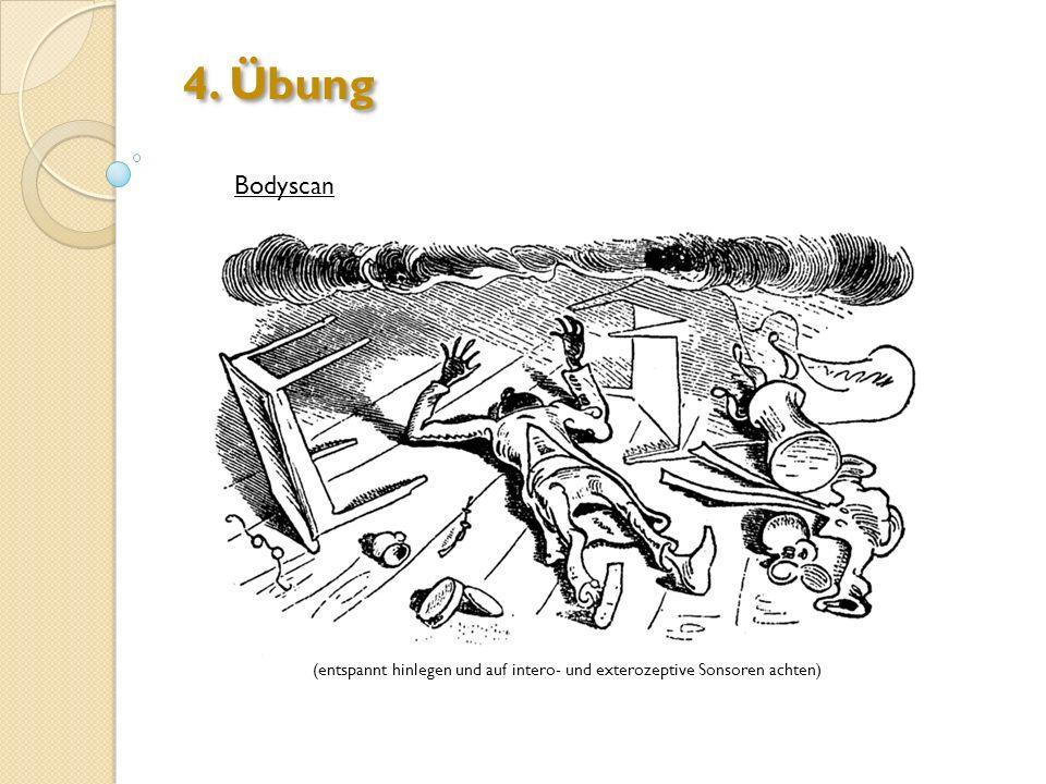 4. Übung Bodyscan (entspannt hinlegen und auf intero- und exterozeptive Sonsoren achten)