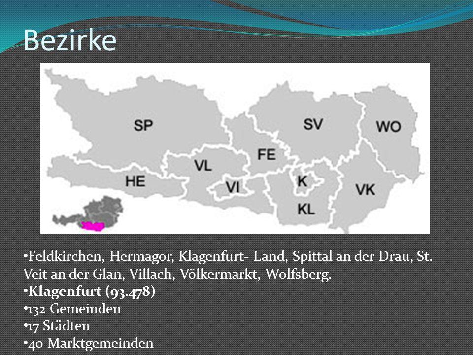 Bezirke Feldkirchen, Hermagor, Klagenfurt- Land, Spittal an der Drau, St. Veit an der Glan, Villach, Völkermarkt, Wolfsberg.