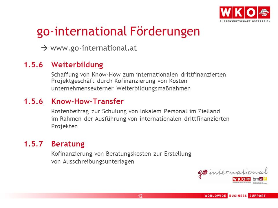 go-international Förderungen 
