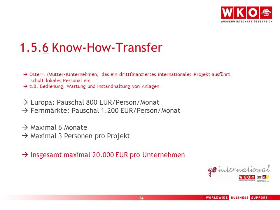 1.5.6 Know-How-Transfer  Fernmärkte: Pauschal 1.200 EUR/Person/Monat