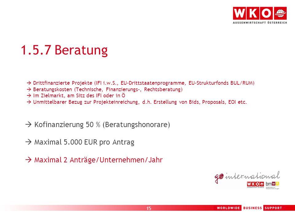 1.5.7 Beratung  Maximal 5.000 EUR pro Antrag