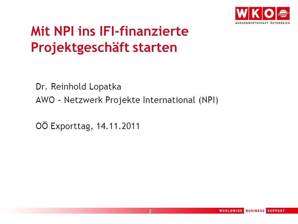 Mit NPI ins IFI-finanzierte Projektgeschäft starten