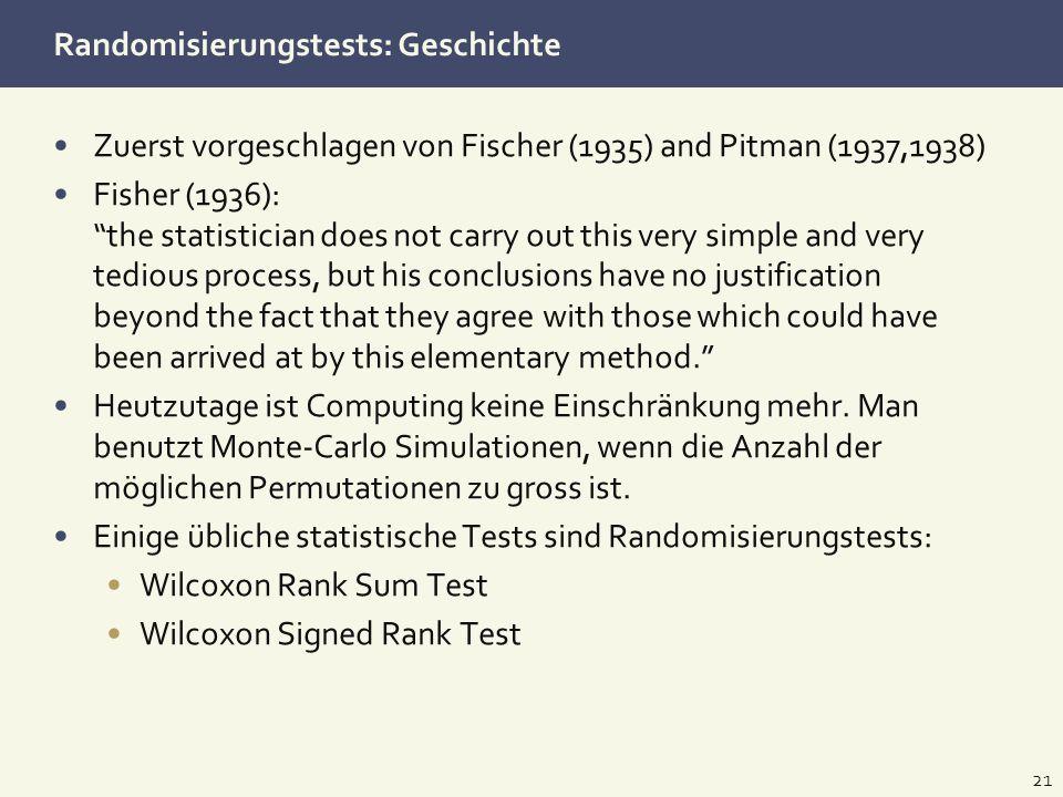 Randomisierungstests: Geschichte