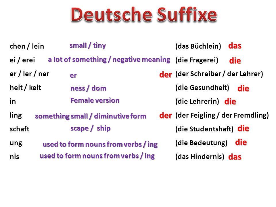 Deutsche Suffixe das die der die die der die die das