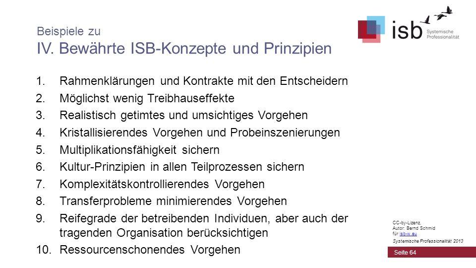 Beispiele zu IV. Bewährte ISB-Konzepte und Prinzipien