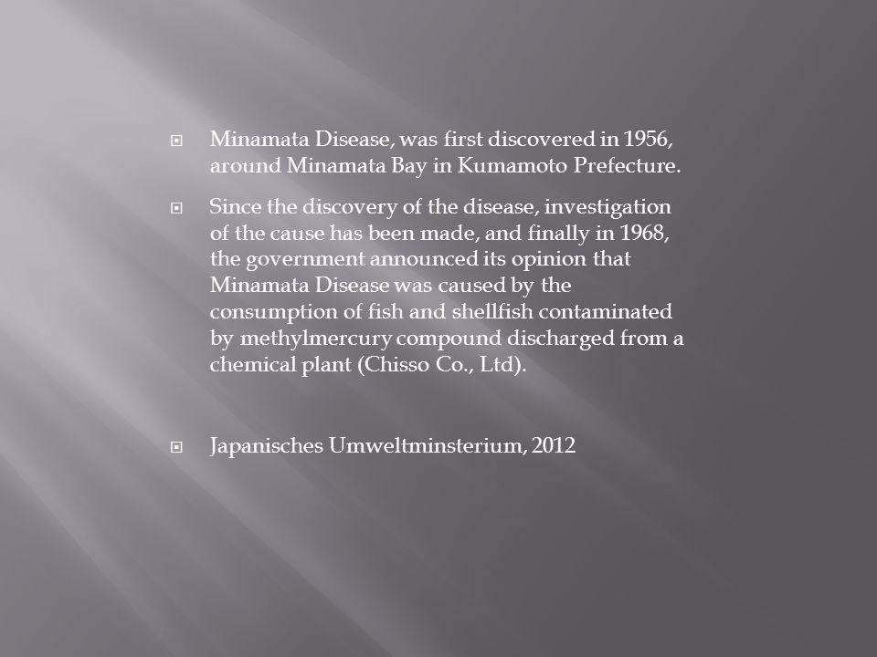 Minamata Disease, was first discovered in 1956, around Minamata Bay in Kumamoto Prefecture.