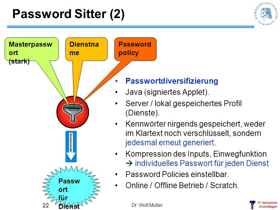 Password Sitter (2) Passwortdiversifizierung Java (signiertes Applet).