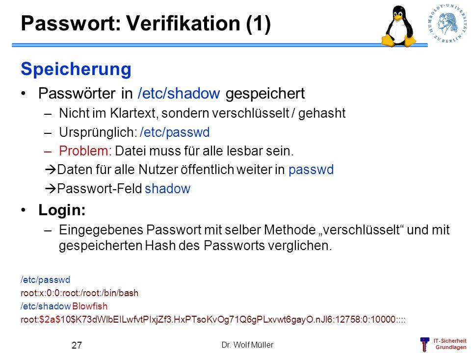Passwort: Verifikation (1)
