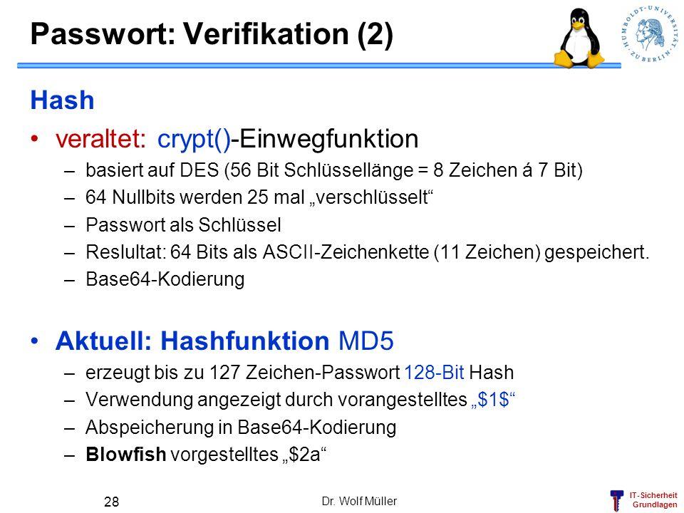 Passwort: Verifikation (2)
