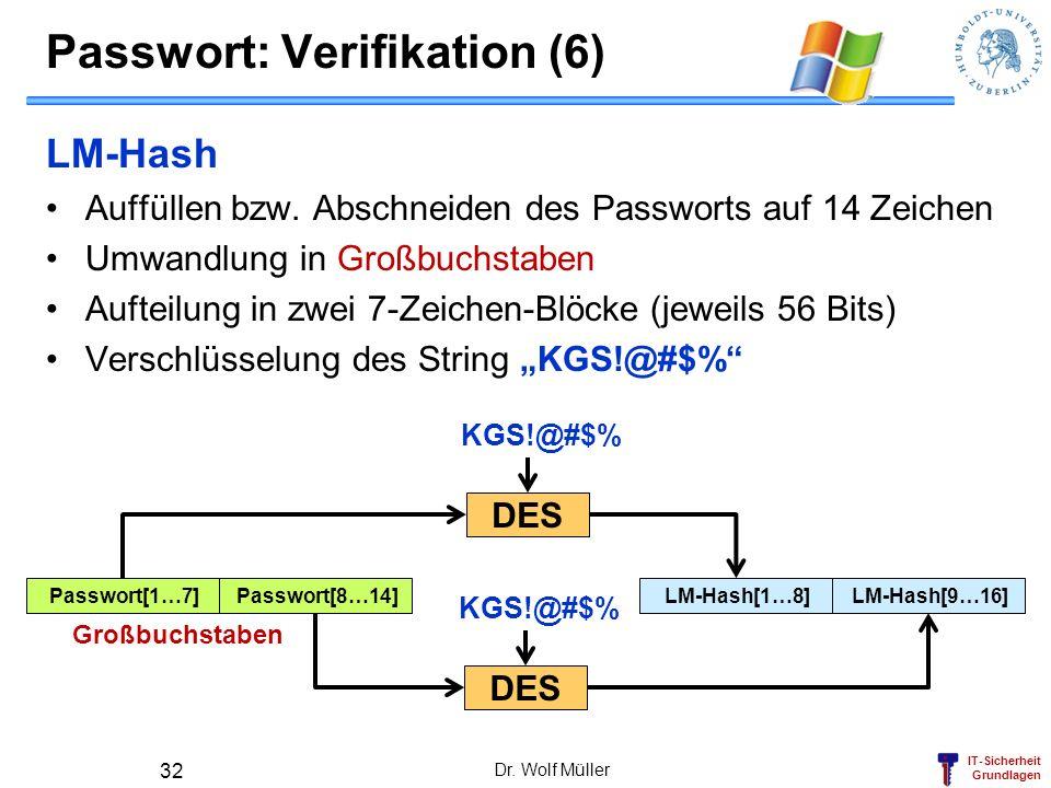Passwort: Verifikation (6)