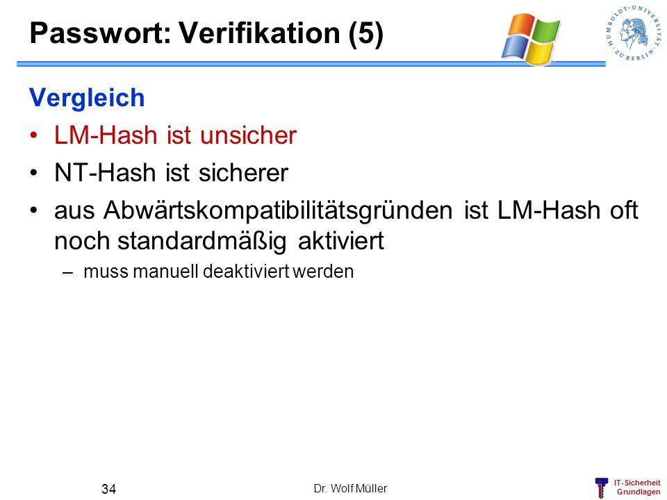 Passwort: Verifikation (5)