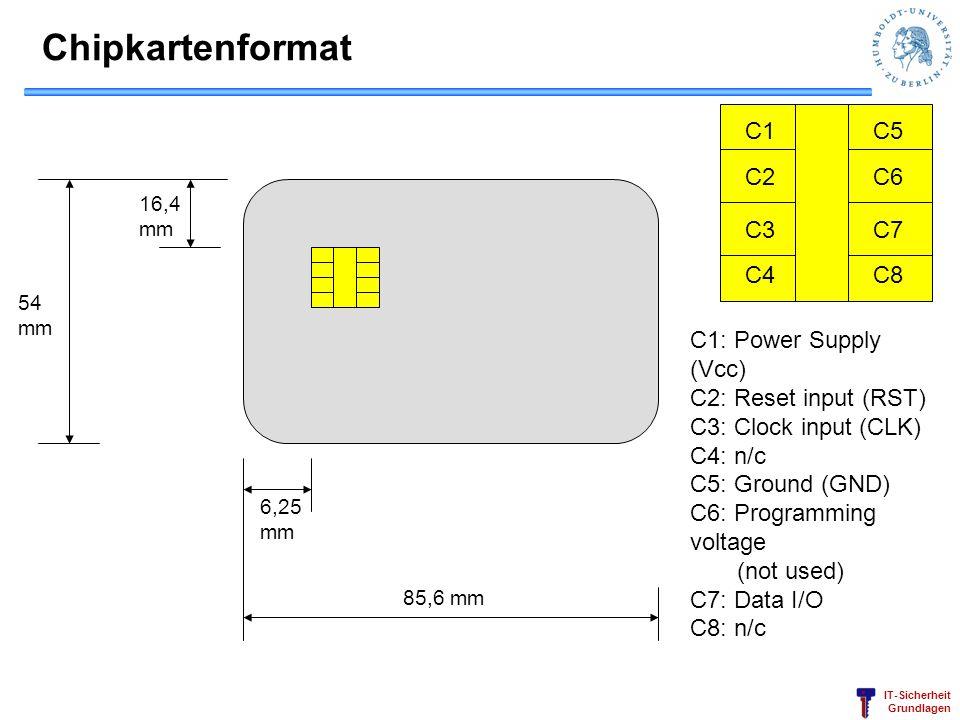 Chipkartenformat C1 C2 C3 C4 C5 C6 C7 C8 C1: Power Supply (Vcc)