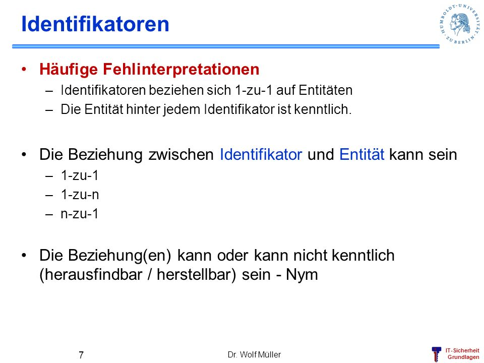 Identifikatoren Häufige Fehlinterpretationen